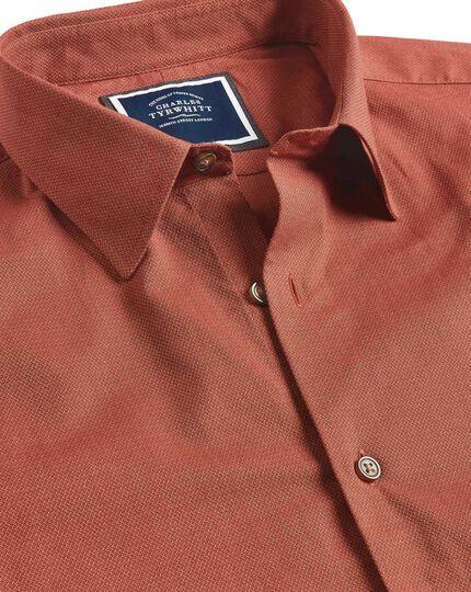 Ganzjährig tragbares Classic Fit Hemd aus Strukturgewebe in Orange