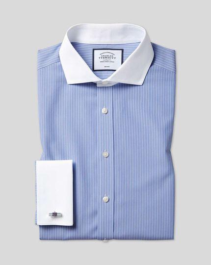 Bügelfreies Winchester-Hemd mit Haifischkragen mit Streifen - Blau &Weiß