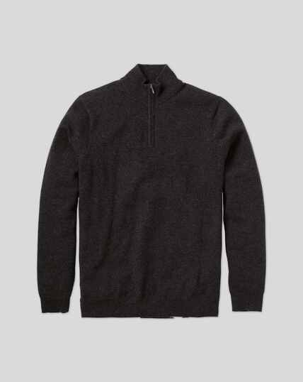 Cashmere Zip Neck Jumper - Charcoal