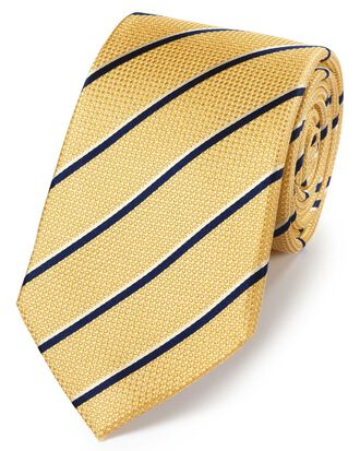 Cravate classique jaune et bleu marine en soie à rayures traditionnelles