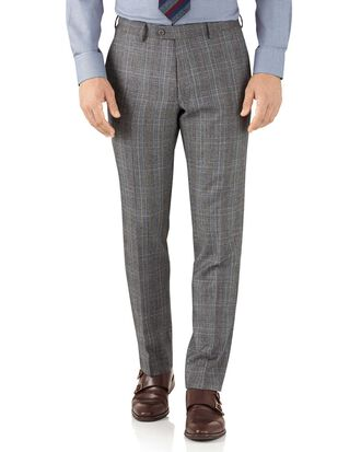 Pantalon de costume business argent Prince de Galles slim fit en flanelle