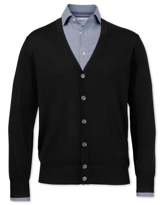 Black merino wool cardigan