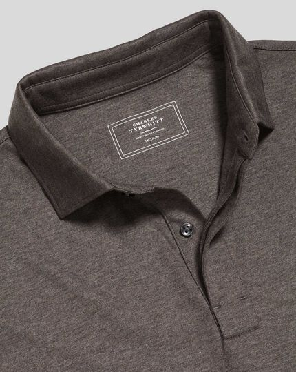 Cotton TENCEL™ Mix Long Sleeve Polo - Brown