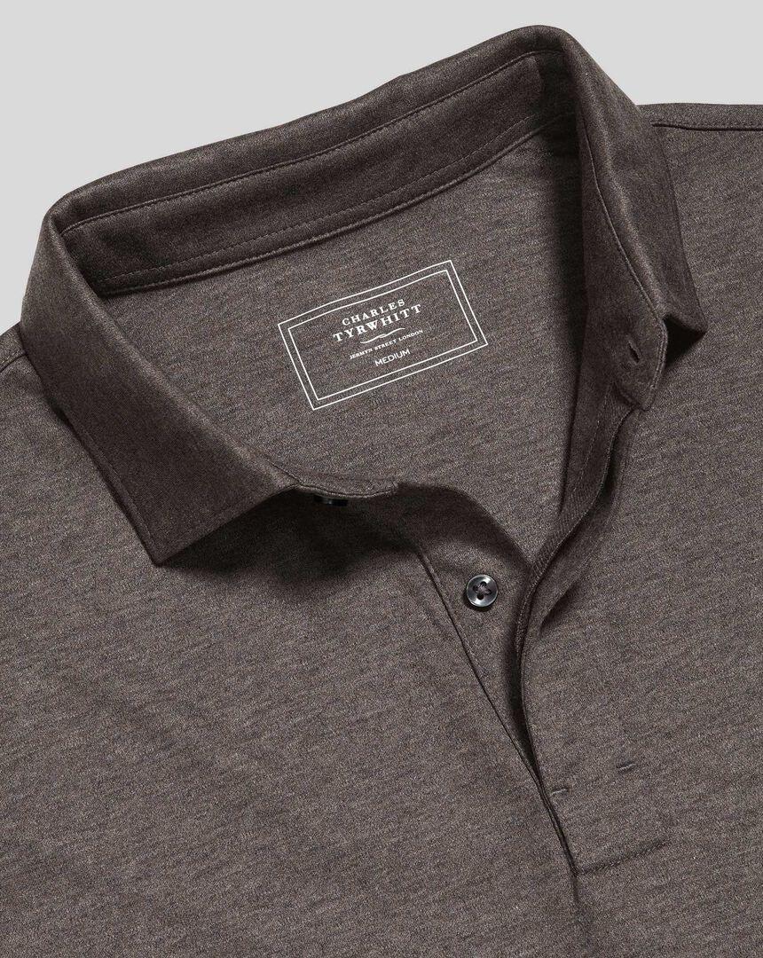 Cotton TENCEL™ Mix Long Sleeve Polo - Brown