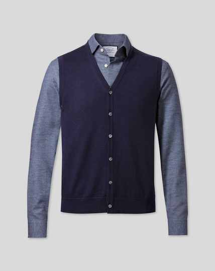 Merino Sweater Vest - Navy