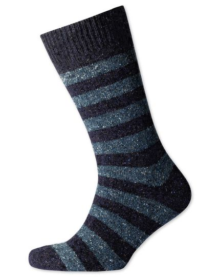 Navy and sky stripe chunky socks