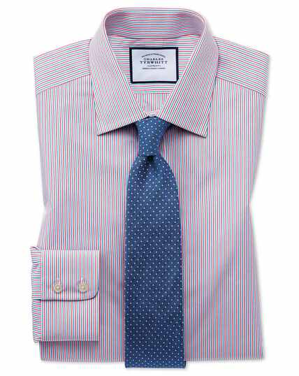 Egyptian Cotton Poplin Multi Stripe Shirt - Pink