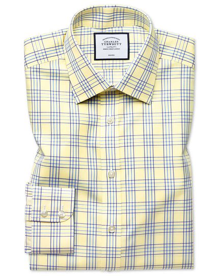 Classic fit non-iron Prince of Wales yellow shirt
