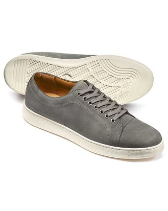 Light grey nubuck leather toe cap sneakers