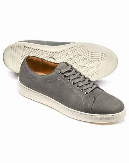 Light grey nubuck leather toe cap sneakers