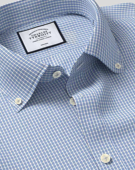 Button-Down Collar Non-Iron Check Shirt - Sky