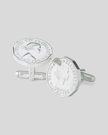 Manschettenknöpfe mit Drei-Pence-Münze - Silber