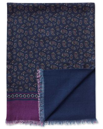 Woll Schal in Marineblau mit Paisley Muster