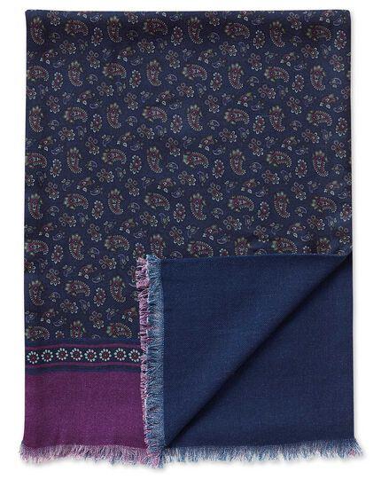 Navy printed paisley wool scarf
