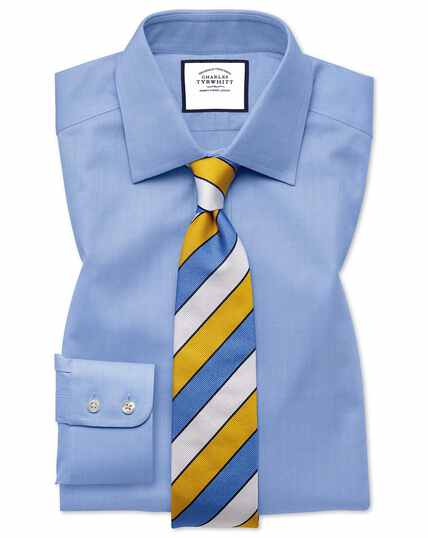 Slim fit sky blue fine herringbone shirt