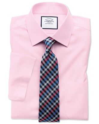 Slim fit non-iron poplin short sleeve pink shirt