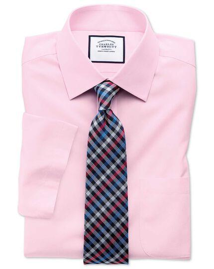 d00c10acab28 Slim fit non-iron poplin short sleeve pink shirt