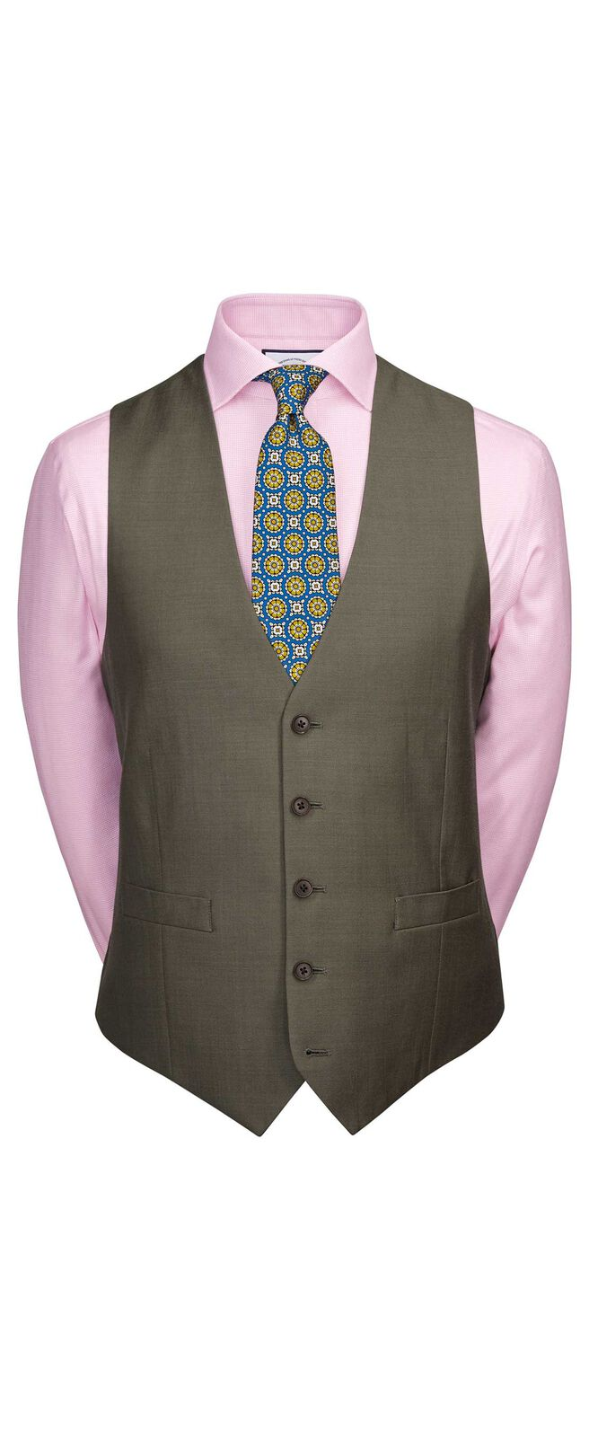 Olive classic fit twill business suit