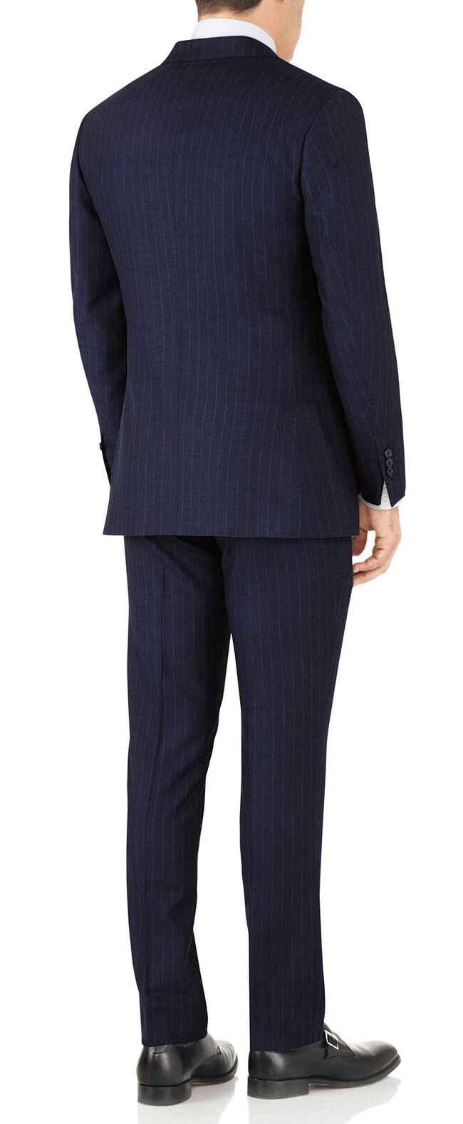 Navy stripe slim fit flannel business suit