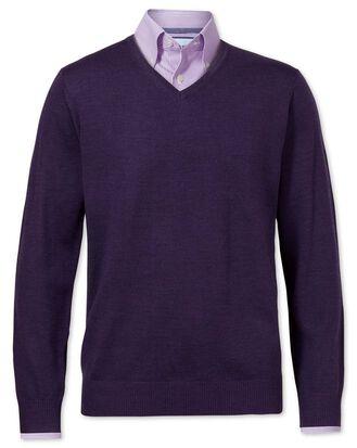 Purple merino wool v-neck sweater