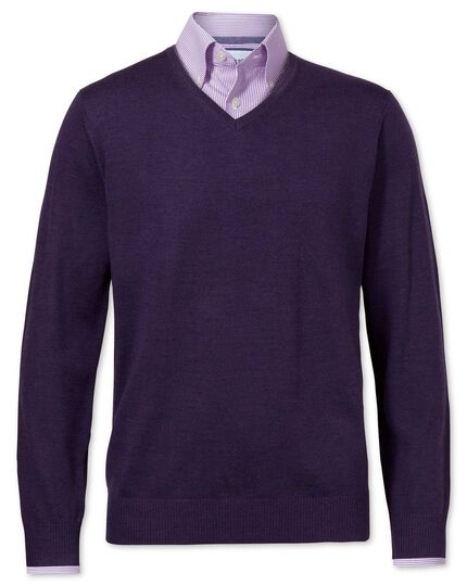 Purple merino wool v-neck jumper