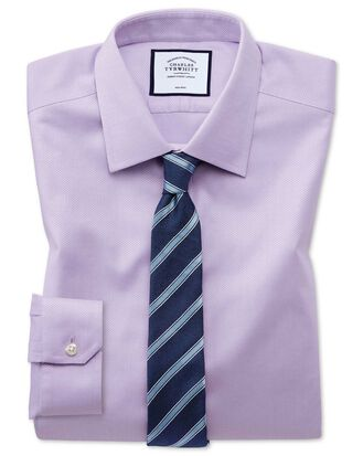 Chemise lilas super slim fit tissage effet triangles sans repassage