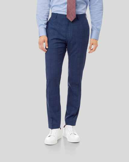 Merino Check Business Suit Pants - Blue