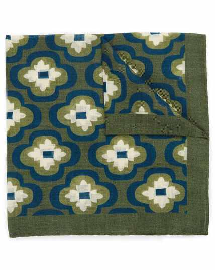 Green and navy floral medallion luxury Italian pocket square