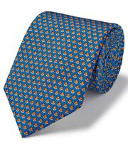 Cravate classiqueen soie bleu roi à imprimé renards