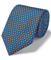 Royal blue fox print silk classic tie