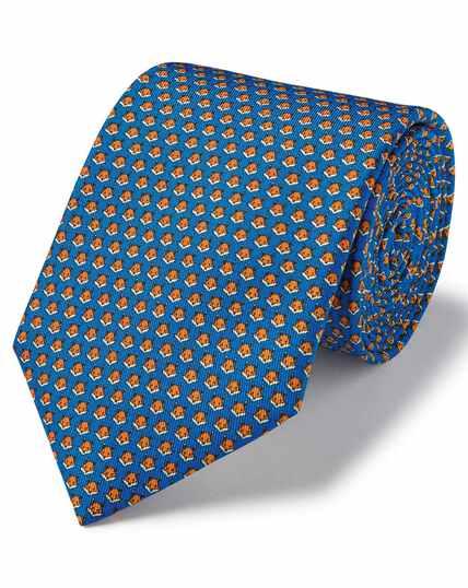 Koningsblauwe klassieke zijden stropdas met vossenprint