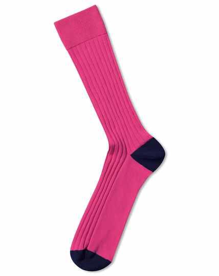 Pink cotton rib socks