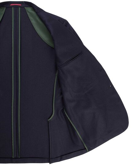 Slim fit navy textured modern unlined jacket