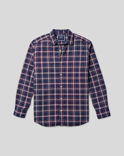 Classic Collar Crinkly Check Shirt - Navy