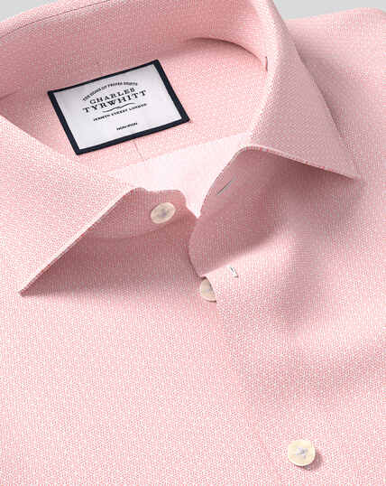 Bügelfreies Hemd mit Business-Casual-Kragen und geometrischem Design - Rosa