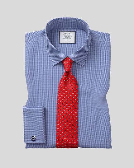 Chemise pied-de-poule à col classique sans repassage  - Bleu roi