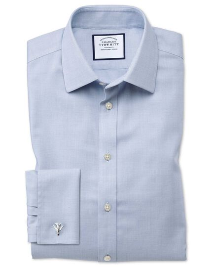 Slim fit non-iron step weave mid blue shirt
