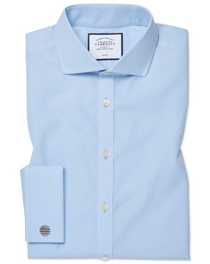 Classic fit sky blue non-iron twill cutaway shirt