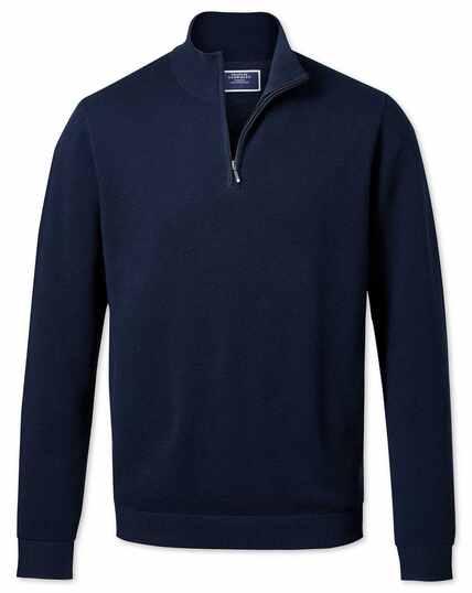 Navy zip neck Thermocool jumper