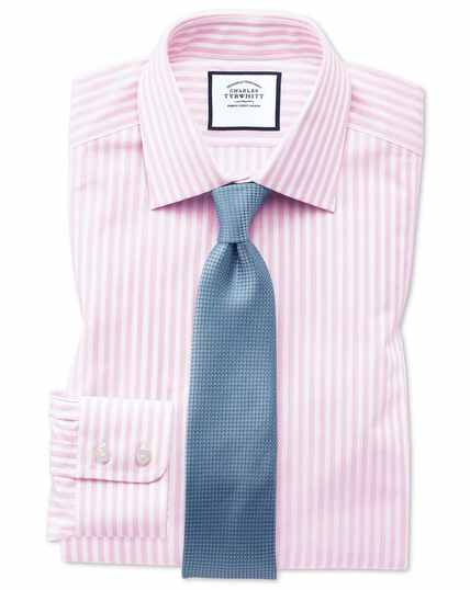 Classic fit pink and white dobby textured stripe shirt