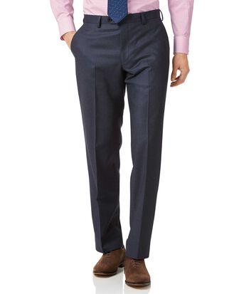 Pantalon de costume business bleu acier en flanelle coupe droite