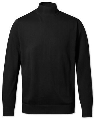 Black turtleneck merino jumper