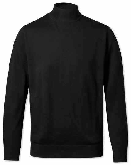Black mock turtleneck merino sweater