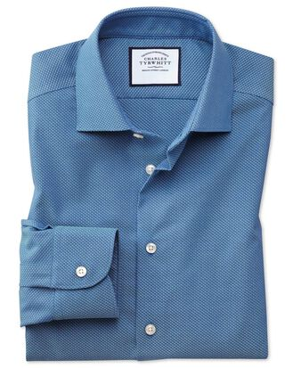 Chemise dobby business casual bleue et bleu canard à imprimé tirets extra slim fit sans repassage