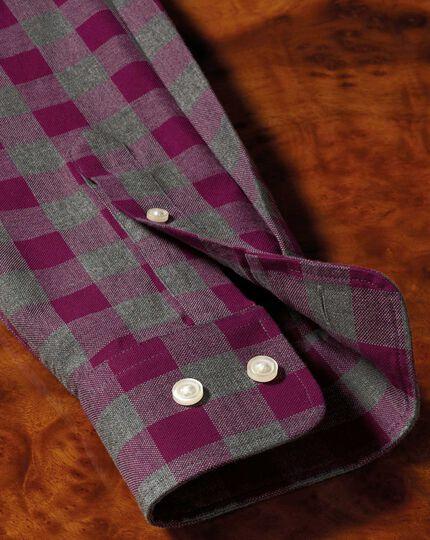 Chemise myrtille et grise à carreaux en oxford délavé coupe droite