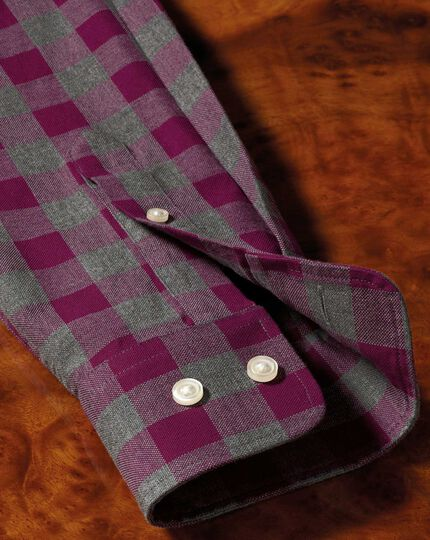 Slim fit button-down washed Oxford berry and grey check shirt