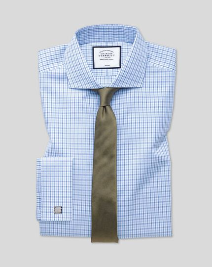 Cutaway Collar Non-Iron Poplin Check Shirt  - Blue & Sky