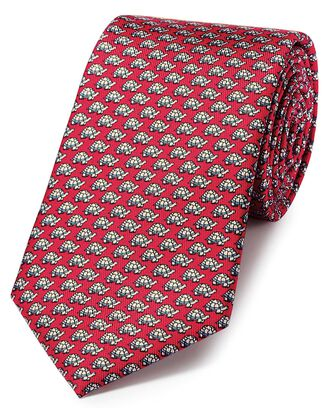 Red and sky blue silk tortoise print classic tie