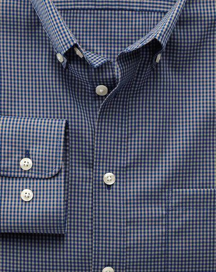 Bügelfreies Slim Fit Hemd aus Popeline in Blau und Grau mit Karos