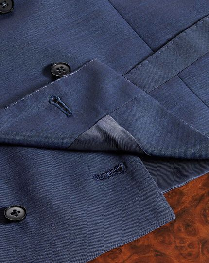 Blue adjustable fit Italian wool luxury suit waistcoat